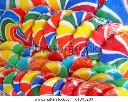 Close up of colorful lollipops