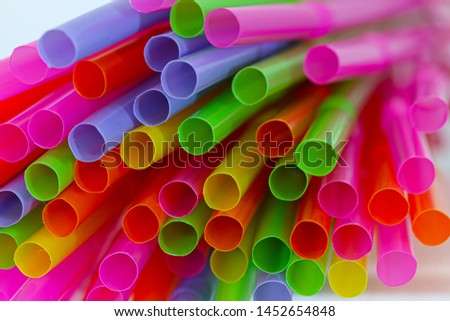 close up of colorful plastic straws #1452654848