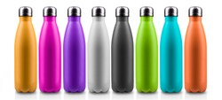 Close-up of colorful reusable, steel thermo water bottles, isolated on white background. Zero waste. Say no to plastic disposable bottle. Environment concept.
