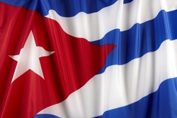 Close up of colorful, wavy Cuban flag