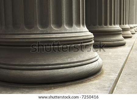close-up of columns of a old building