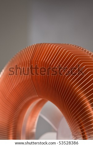 Close up of computer heat sink for abstract background.