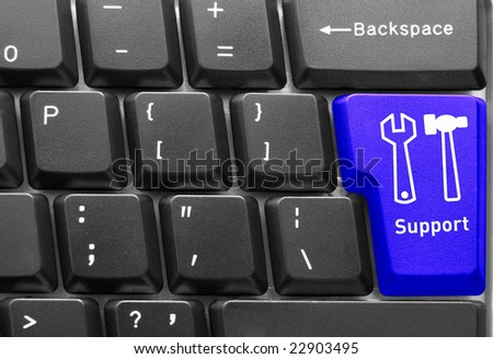 "Close-up of Computer keyboard,  with blue ""Support"" key"