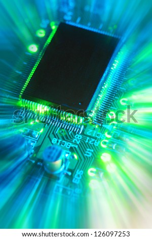 close-up of computer printed circuit board
