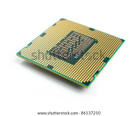 close up of computer processor (CPU) isolate on white - stock photo