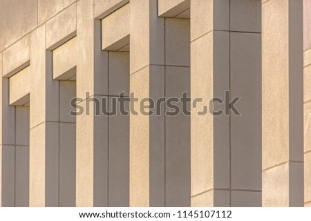Close up of concrete pillars on exterior