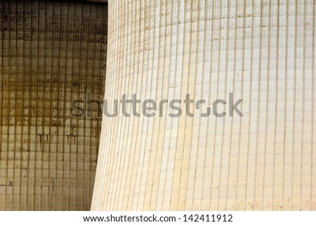 Close-up of cooling towers of an energy plant