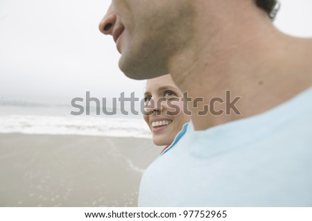 Close up of couple at beach