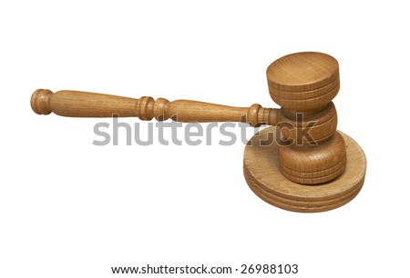 close up of court hammer on white background with clipping path