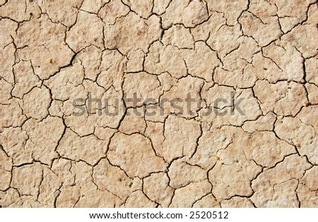 Close up of cracked ground in the desert
