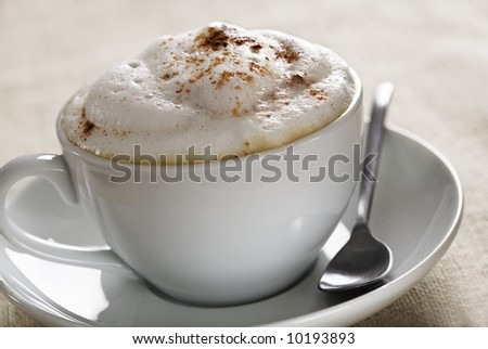 close up of creamy cappuchino with cinnamon sprinkled on top