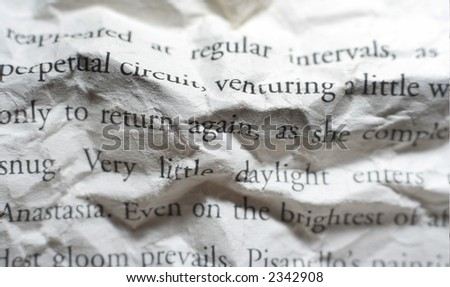 close-up of creased page of a book