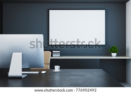 Close up of creative designer desktop with blank banner and other objects. Mock up, 3D Rendering  #776902492