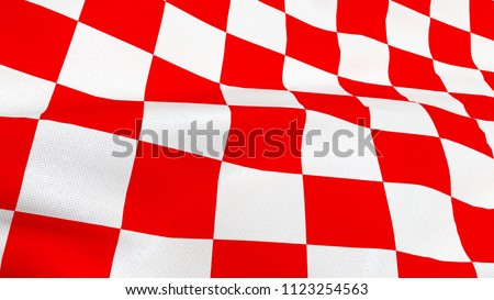 Close up of Croatian red and white check board waving flag