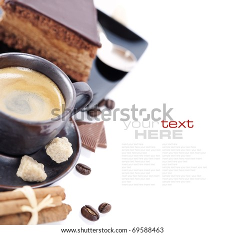 Close-up of cup of coffee and chocolate cake (easy removable text)
