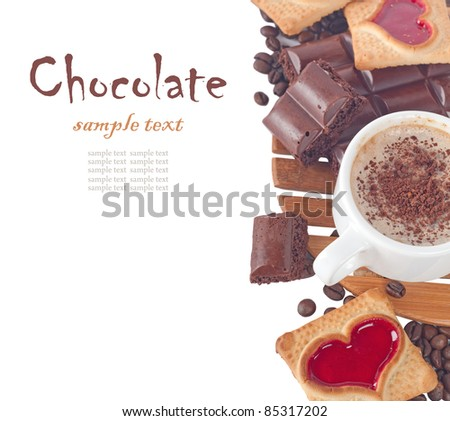 Close-up of cup of coffee and chocolate  (easy removable text)