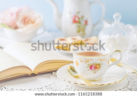 Close up of cup of tea on table with vintage tone - Afternoon tea party concept #1165218388