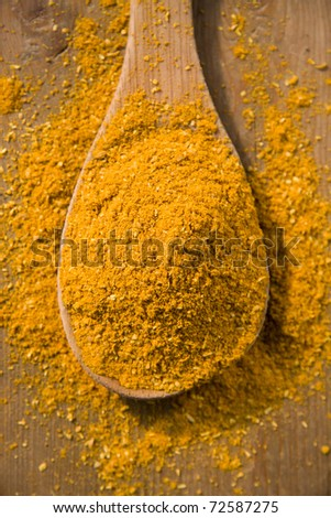 Close-up of curry powder in a wooden spoon
