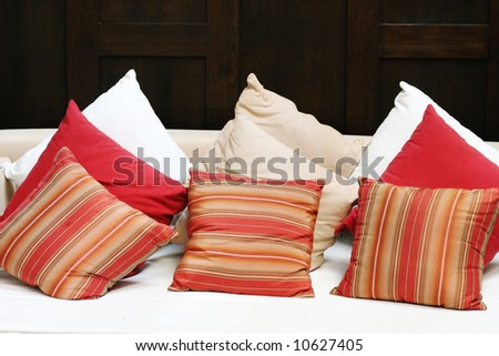 Close-up of cushions on a sofa in a modern home.