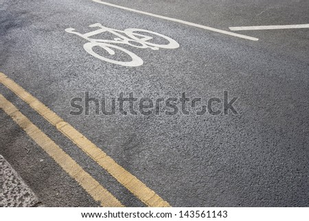 Close up of cycle lane in the road