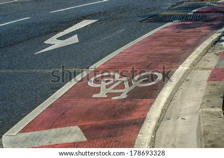 Close up of cycle lane in the road  #178693328