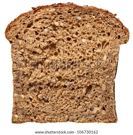 close up of  dark bread on white background with clipping path