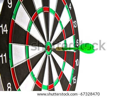 Close up of dartboard and dart on white background.