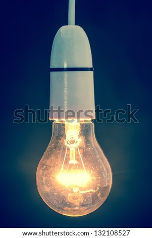 Close up of dazzling light bulb in retro style