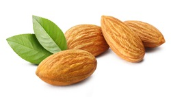 Close-up of delicious almonds with leaves, isolated on white background