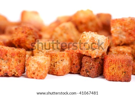 Close up of delicious croutons isolated on white background