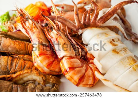 Close up of delicious grilled seafood platter