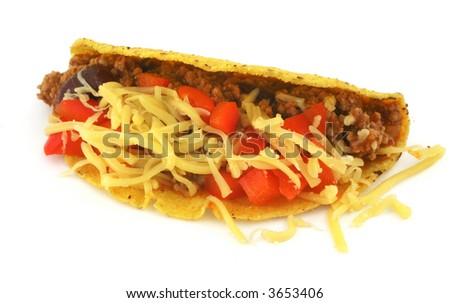 close-up of delicious Mexican Taco against white background