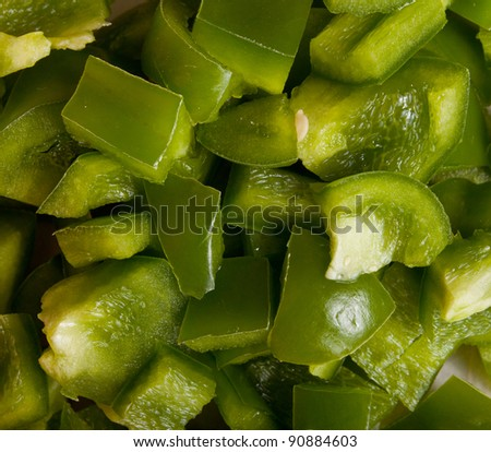 Close up of diced green bell pepers.