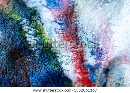 Close up of different color oil paint, Patterns or backgrounds of various colors, colors on the fabric.  #1352061167