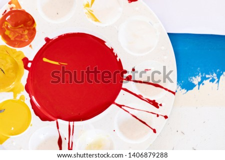 Close up of different color oil paint, Patterns or backgrounds of various colors, colors on the fabric.  #1406879288
