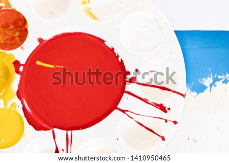Close up of different color oil paint, Patterns or backgrounds of various colors, colors on the fabric.  #1410950465
