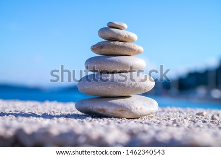 Close up of different size rocks, concept of harmony and balance