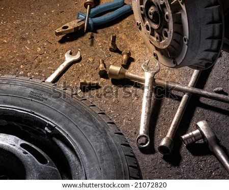 Close up of different tools for wheel change