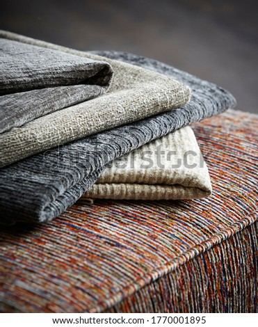 Close-up of different types of upholstery fabric on couch Photo stock ©