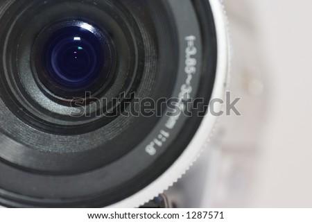 Close up of digital video camera lens