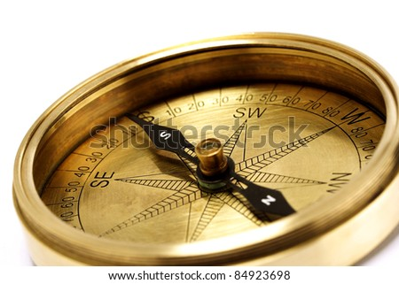 Close up of directional compass