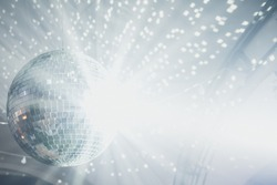 Close up of disco ball on party
