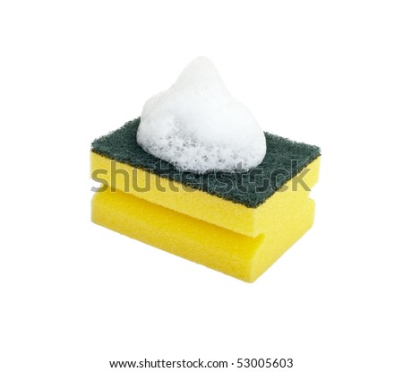 close up of dish washing sponge on white background with clipping path