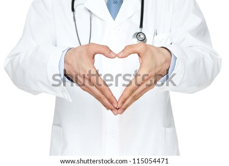 Close up of doctor's hands making heart shape isolated on white background