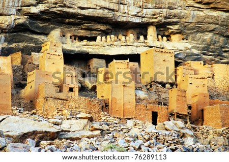 Close up of Dogon and Tellem houses at the base of the Bandiagara escarpment in Mali