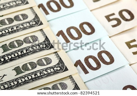 Close-up of dollar and euro banknotes