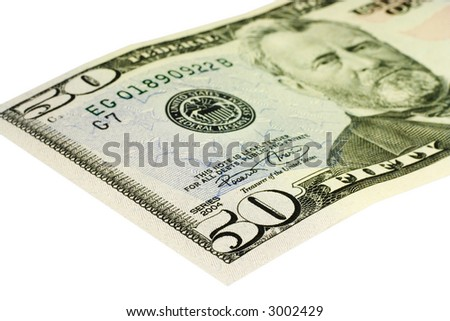 Close-up of 50 Dollar bill isolated on a white background
