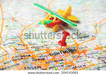 Free Close up of DortmundGermany map with red pin Travel