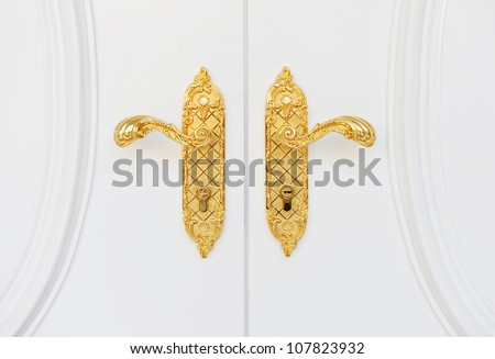 Close up of double antique gold plated door handle on the white door.