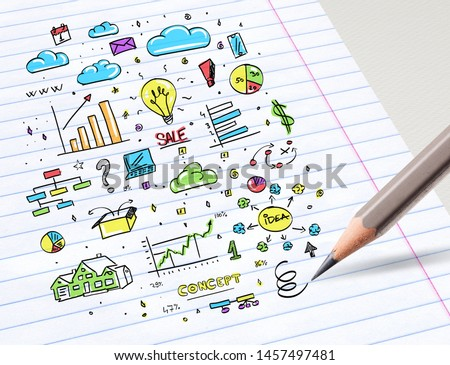 Close-up of drawing colorful multimedia and office staff concept